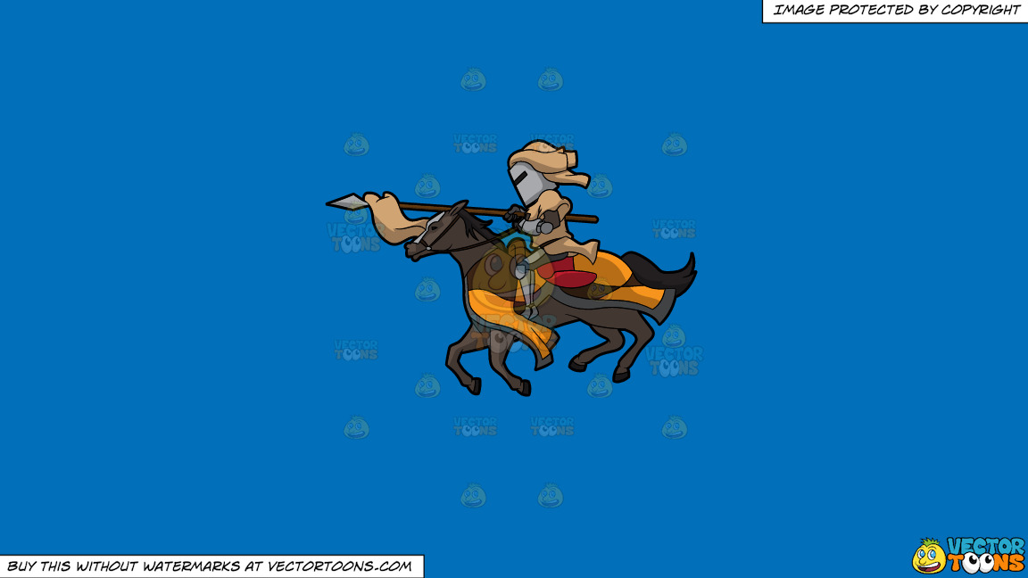 A Jousting Knight On A Solid Spanish Blue 016fb9 Background thumbnail