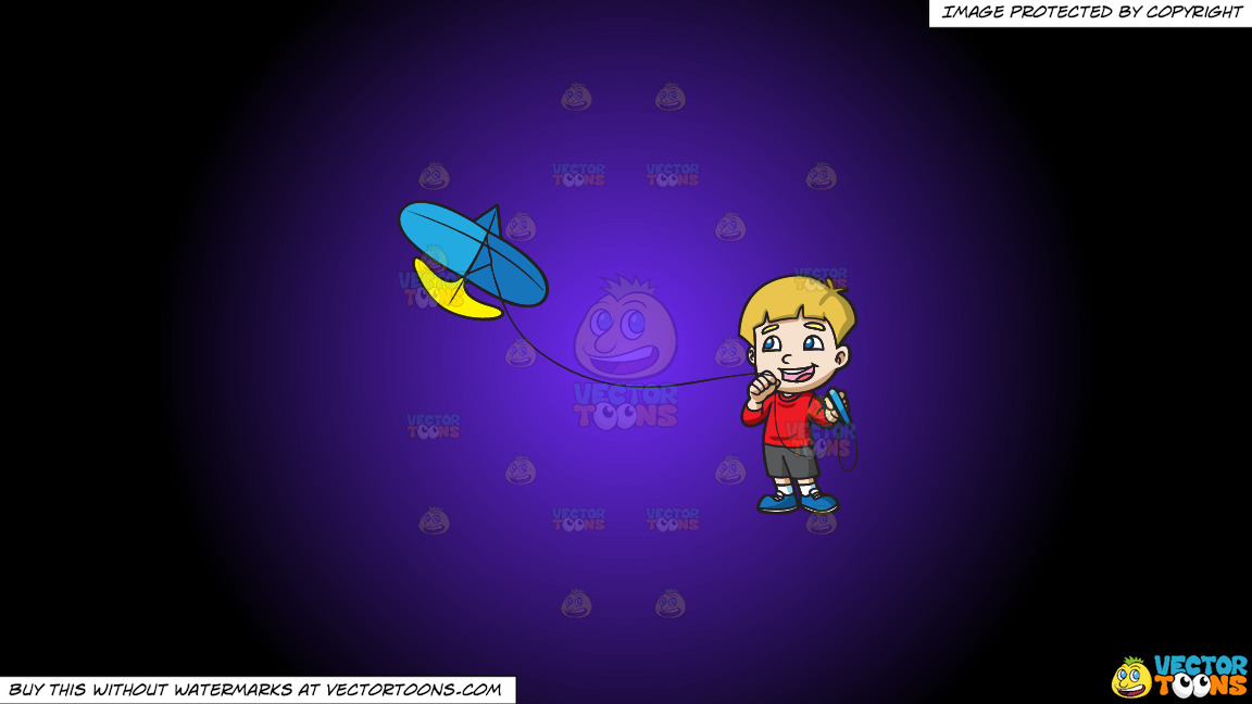 A Joyful Boy Controlling His Kite On A Purple And Black Gradient Background thumbnail