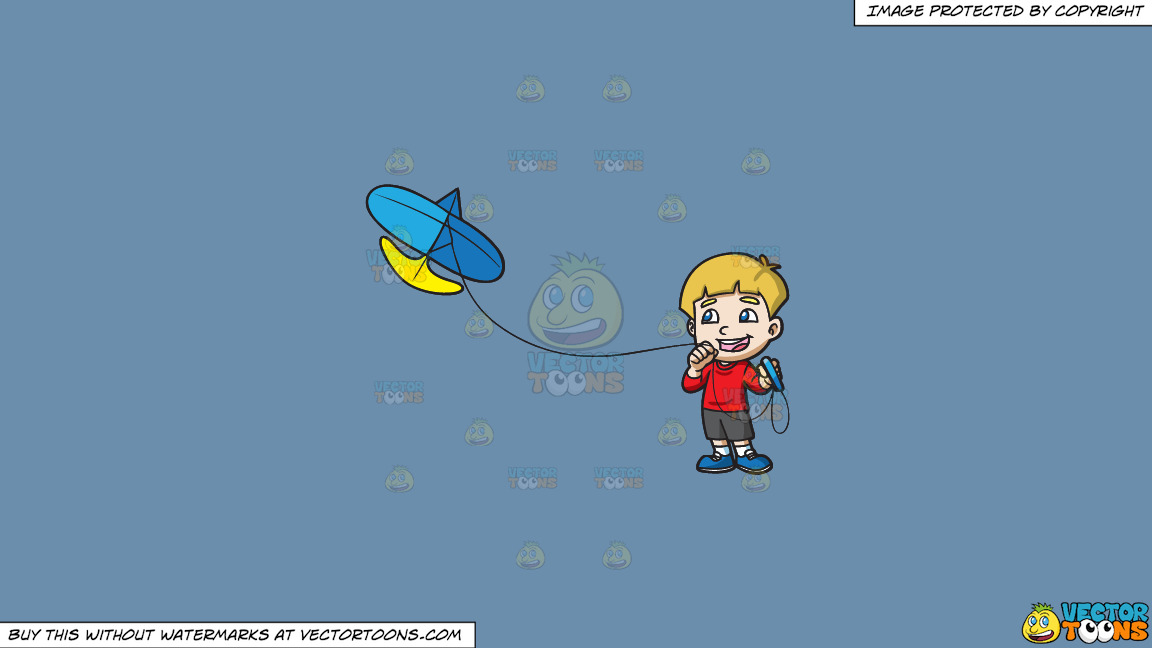 A Joyful Boy Controlling His Kite On A Solid Shadow Blue 6c8ead Background thumbnail
