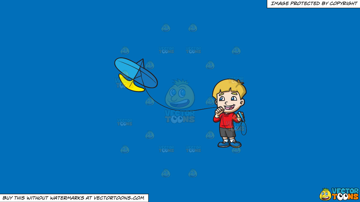 A Joyful Boy Controlling His Kite On A Solid Spanish Blue 016fb9 Background thumbnail