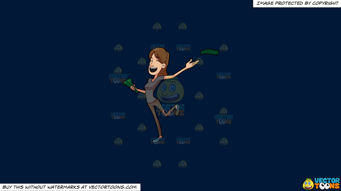 A Joyous Woman Giving Away Money On A Solid Dark Blue 011936 Background thumbnail