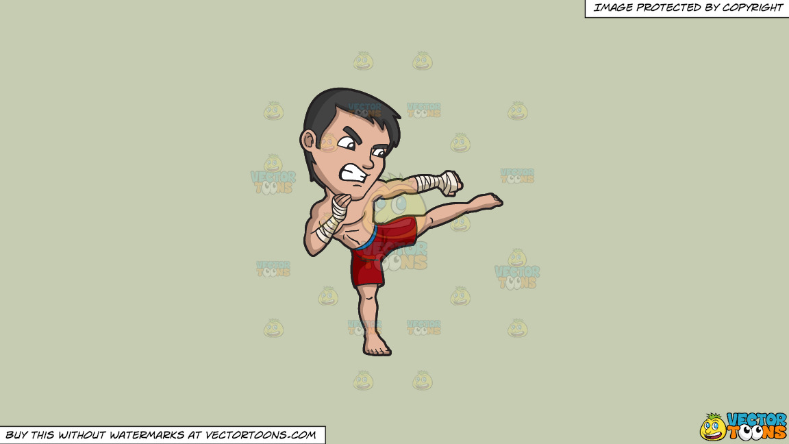 A Kickboxer In Training On A Solid Pale Silver C6ccb2 Background thumbnail