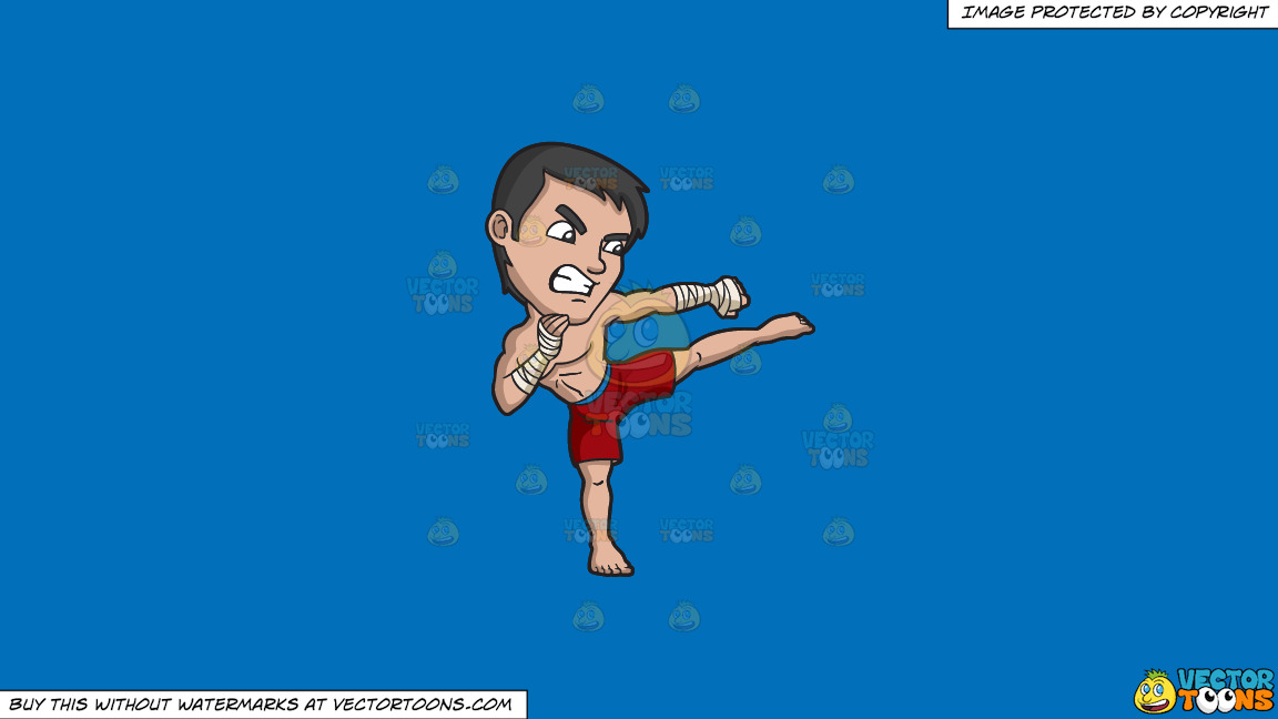 A Kickboxer In Training On A Solid Spanish Blue 016fb9 Background thumbnail