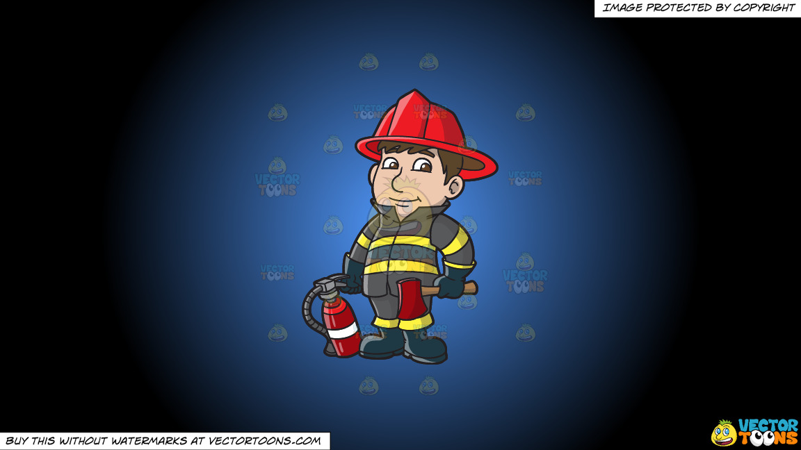 A Kind Looking Firefighter On A Blue And Black Gradient Background thumbnail