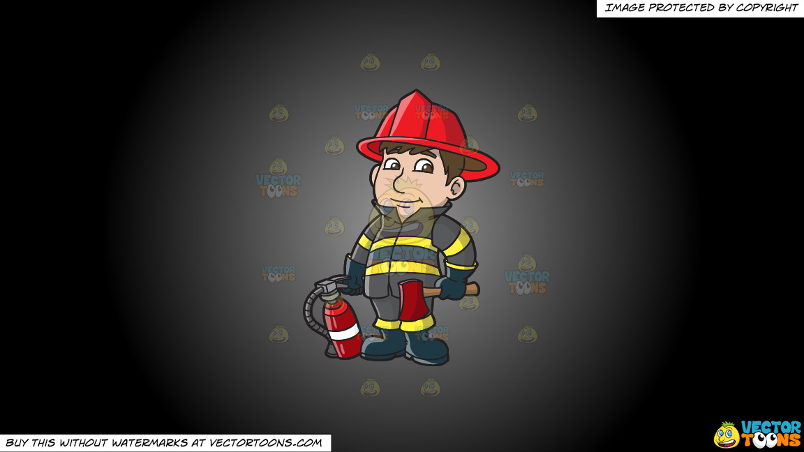 A Kind Looking Firefighter On A Grey And Black Gradient Background thumbnail