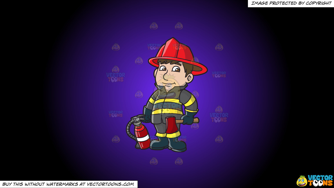 A Kind Looking Firefighter On A Purple And Black Gradient Background thumbnail