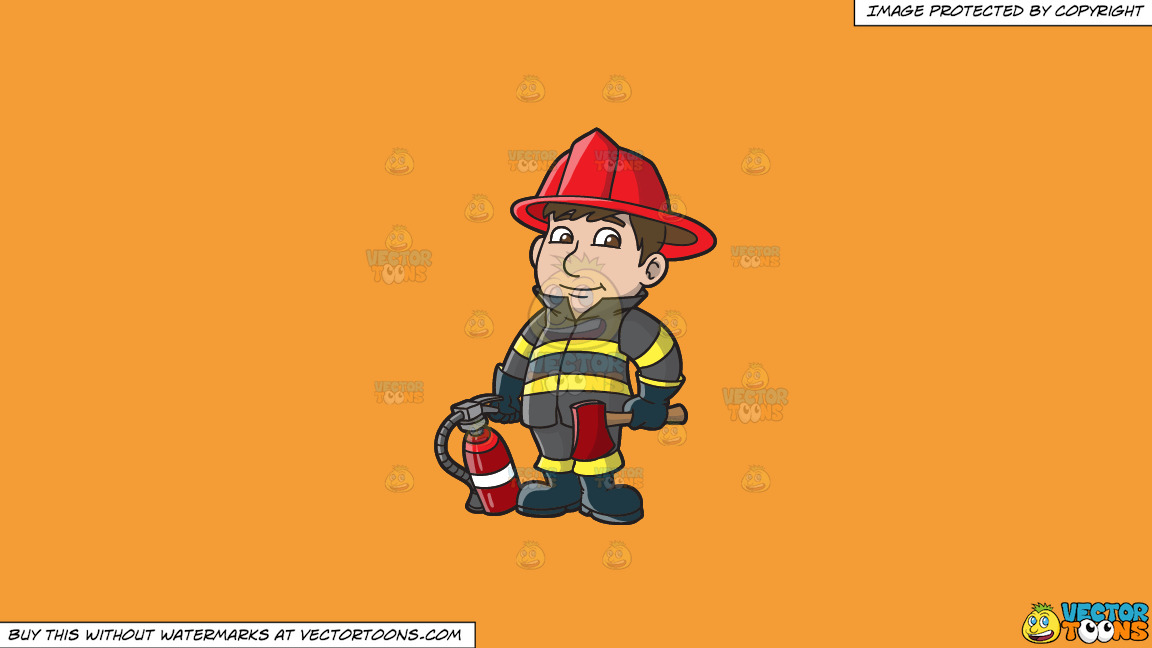 A Kind Looking Firefighter On A Solid Deep Saffron Gold F49d37 Background thumbnail