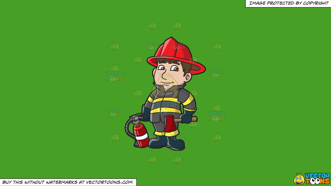 A Kind Looking Firefighter On A Solid Kelly Green 47a025 Background thumbnail