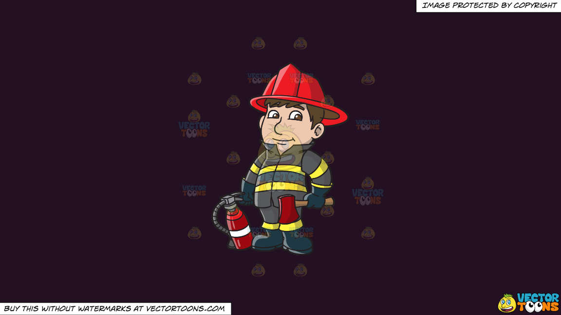 A Kind Looking Firefighter On A Solid Purple Rasin 241023 Background thumbnail
