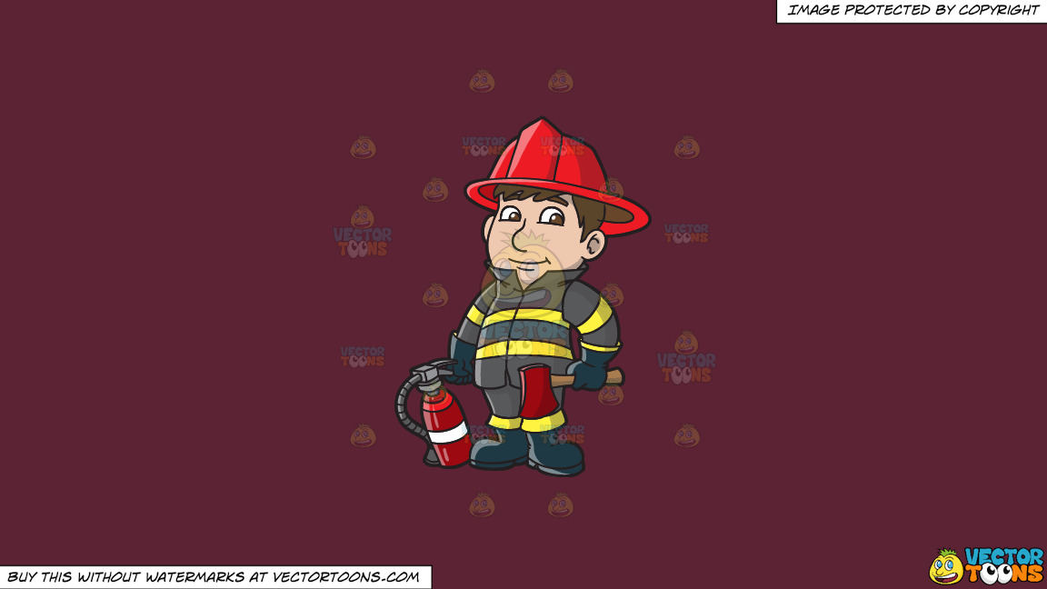 A Kind Looking Firefighter On A Solid Red Wine 5b2333 Background thumbnail