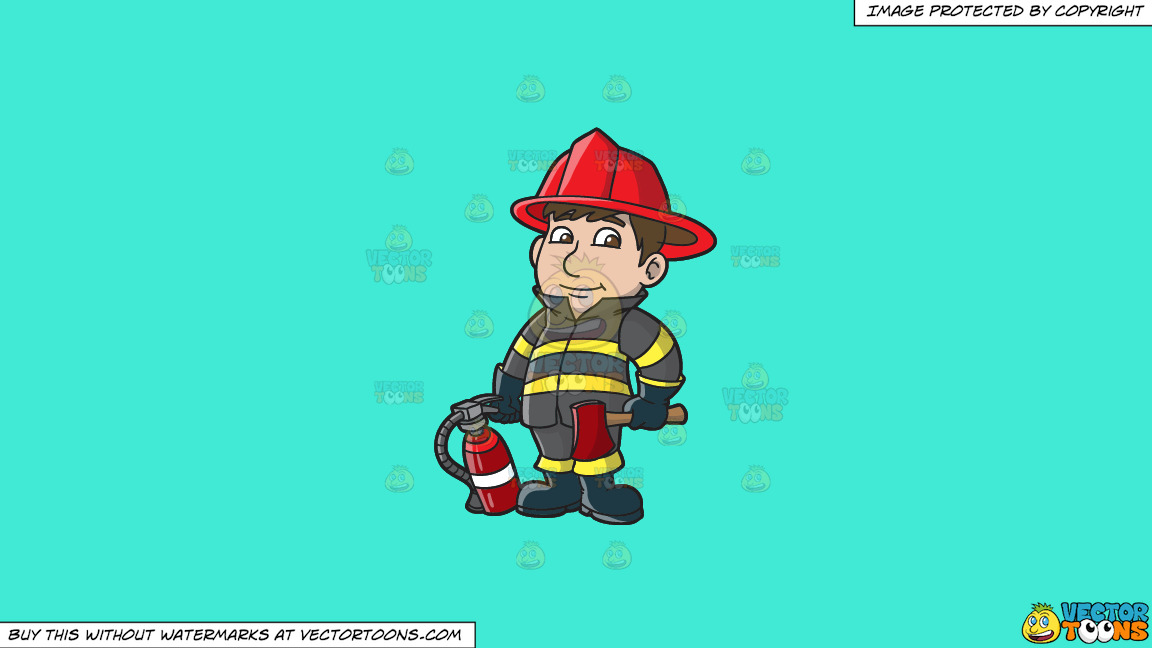 A Kind Looking Firefighter On A Solid Turquiose 41ead4 Background thumbnail