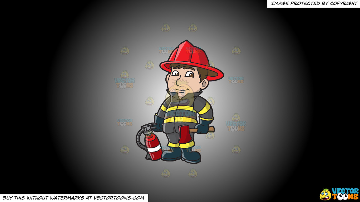 A Kind Looking Firefighter On A White And Black Gradient Background thumbnail