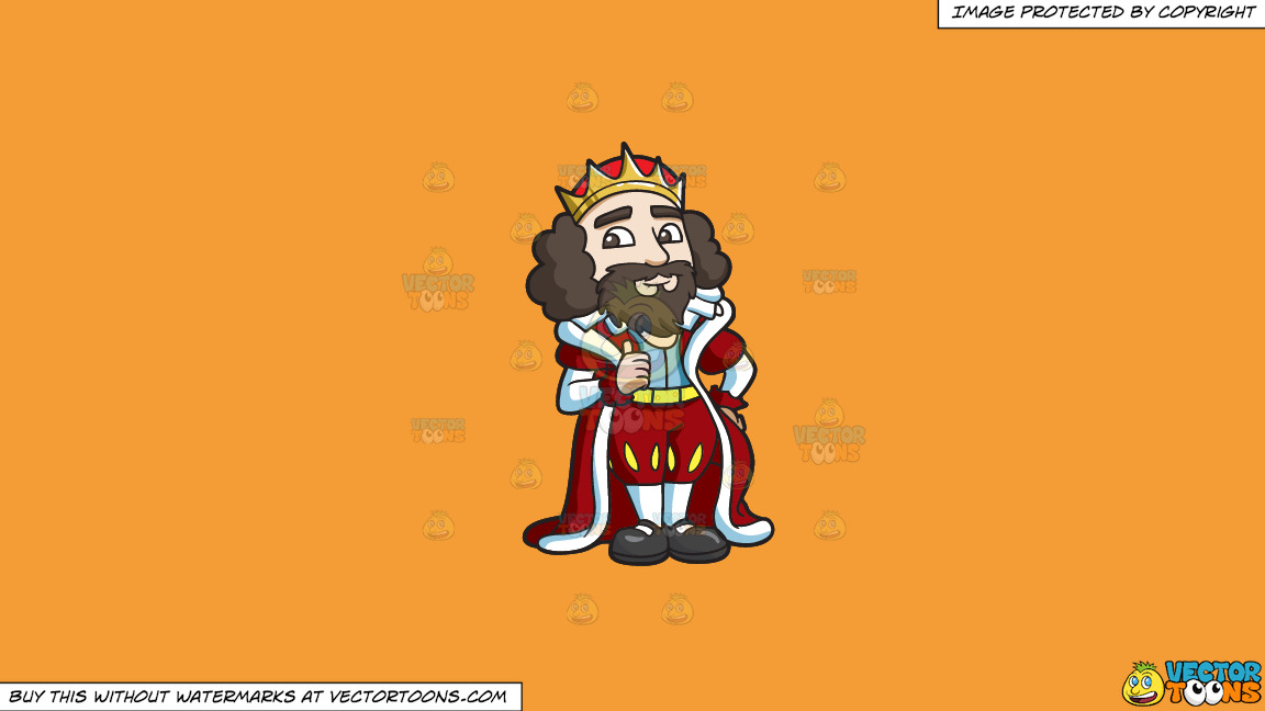 A King Giving His Approval On A Solid Deep Saffron Gold F49d37 Background thumbnail