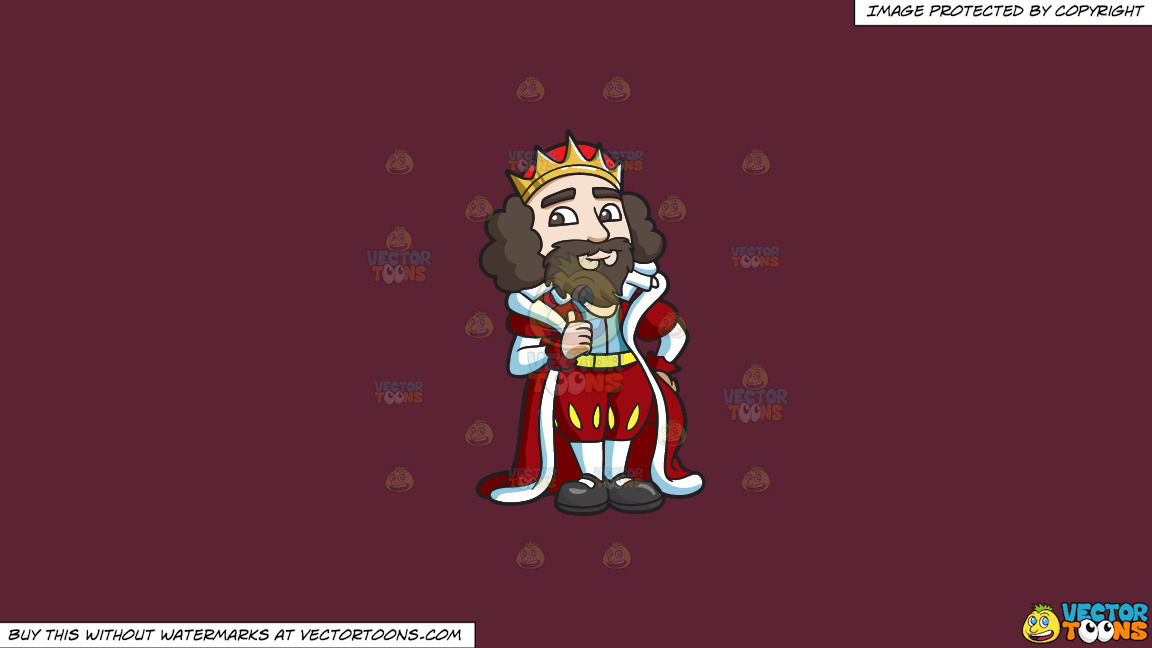 A King Giving His Approval On A Solid Red Wine 5b2333 Background thumbnail