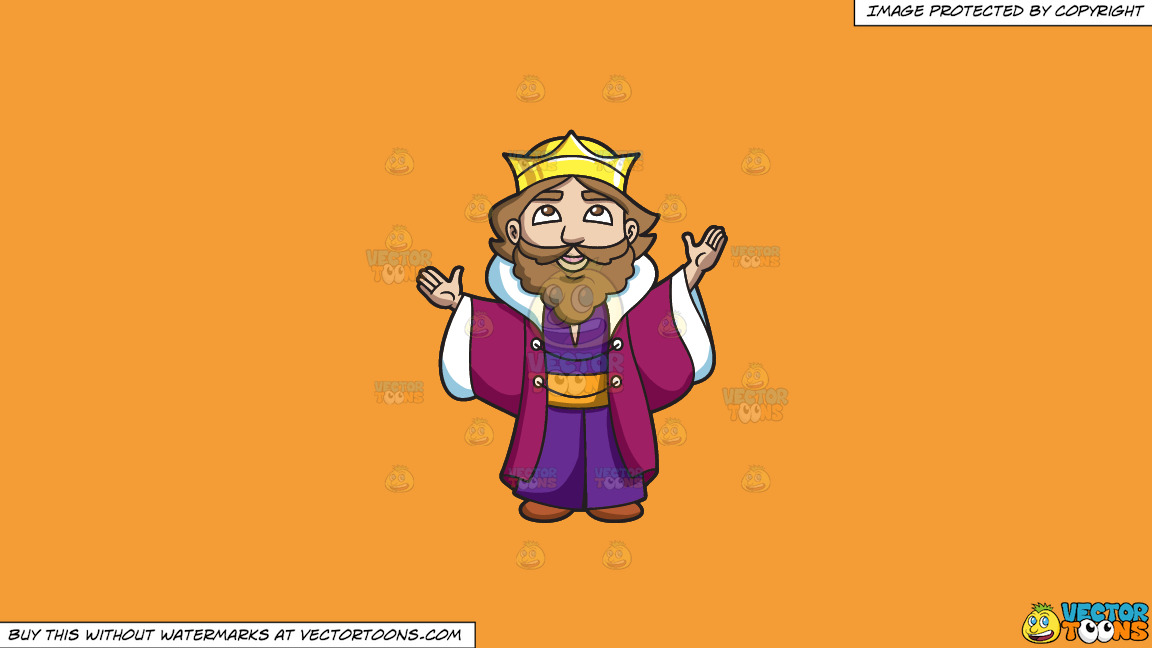 A King Thanking The Heavens On A Solid Deep Saffron Gold F49d37 Background thumbnail