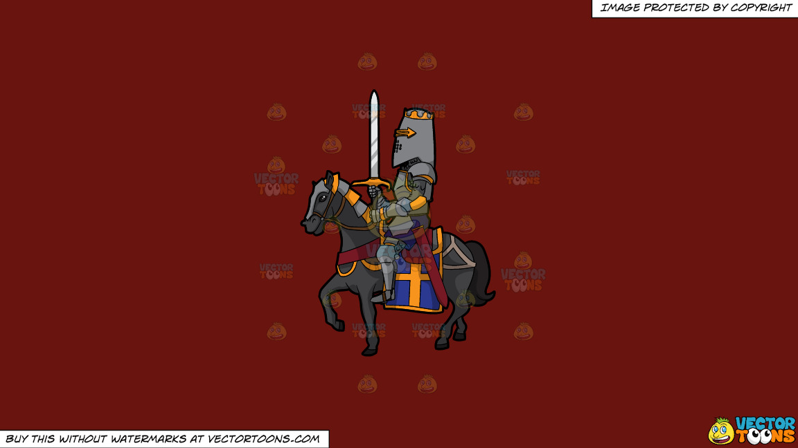 A Knight In Shining Armor On A Solid Maroon 69140e Background thumbnail