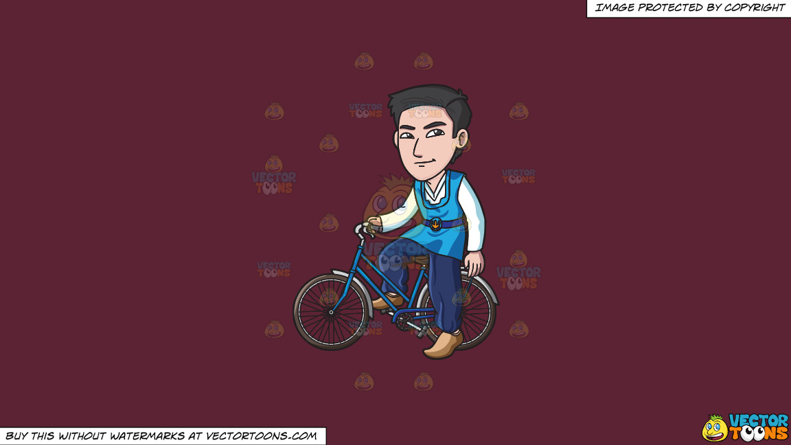 A Korean Man Riding A Bike On A Solid Red Wine 5b2333 Background thumbnail