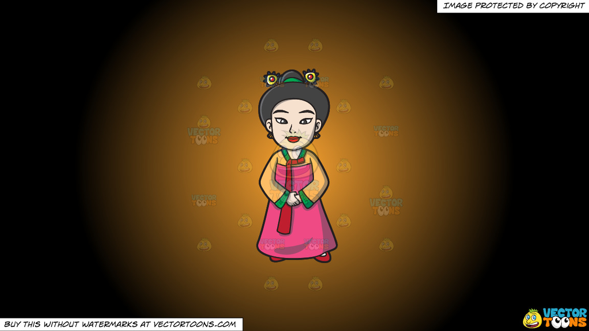 A Korean Princess On A Orange And Black Gradient Background thumbnail