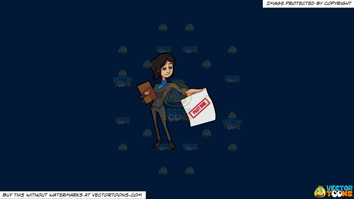 A Lady Bill Collector Delivering Past Due Notices On A Solid Dark Blue 011936 Background thumbnail