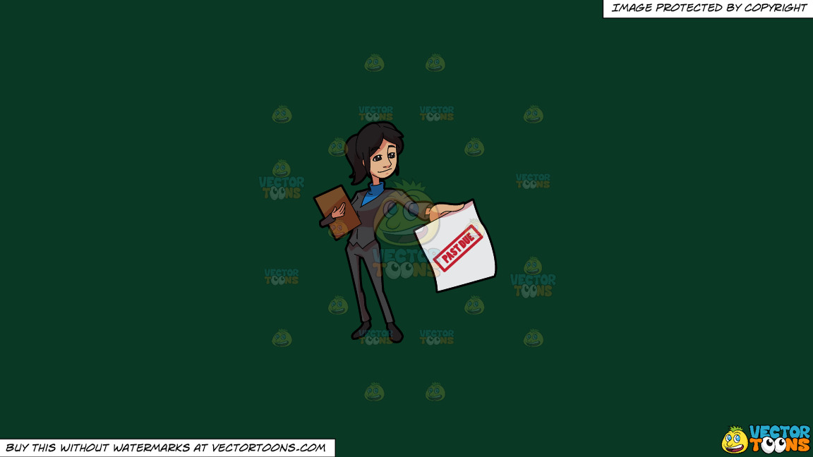 A Lady Bill Collector Delivering Past Due Notices On A Solid Dark Green 093824 Background thumbnail