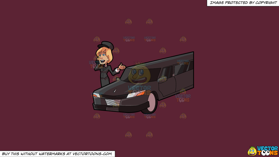 A Lady Chauffeur Chatting With Somebody On The Phone On A Solid Red Wine 5b2333 Background thumbnail
