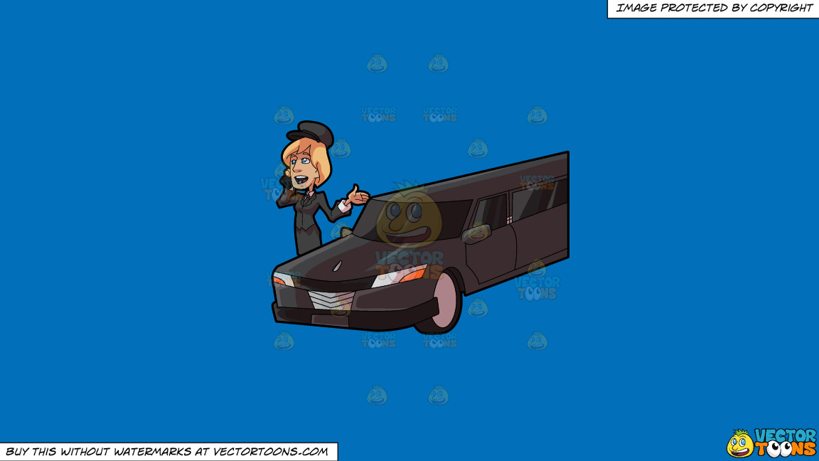 A Lady Chauffeur Chatting With Somebody On The Phone On A Solid Spanish Blue 016fb9 Background thumbnail