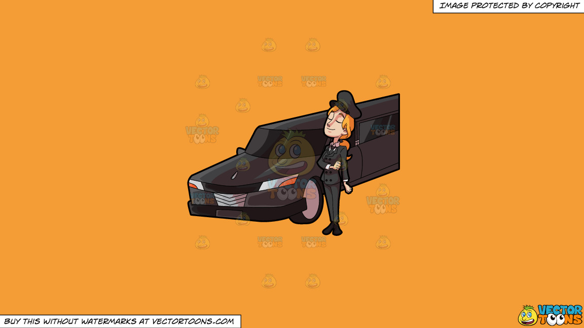 A Lady Chauffeur Looking Poised And Well While Waiting For Her Client On A Solid Deep Saffron Gold F49d37 Background thumbnail