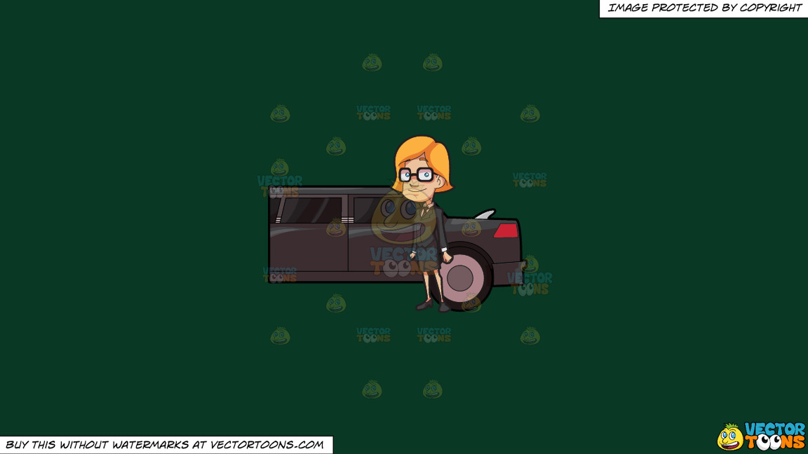 A Lady Chauffeur Waiting For Her Client On A Solid Dark Green 093824 Background thumbnail