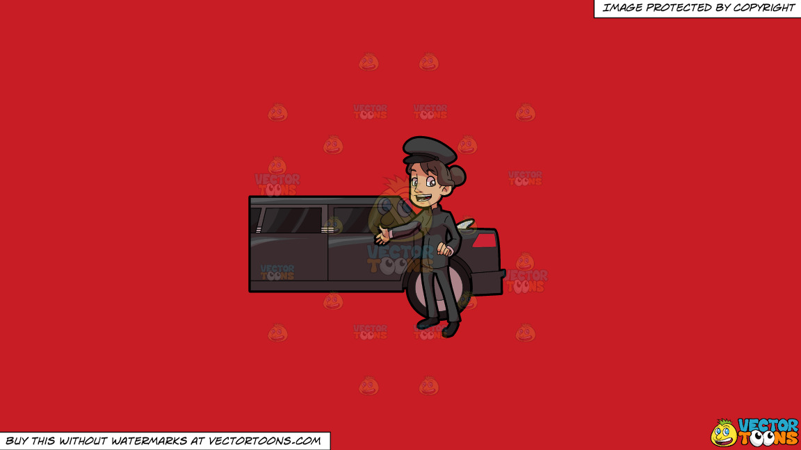 A Lady Chauffeur Welcoming A Client To The Limo On A Solid Fire Engine Red C81d25 Background thumbnail