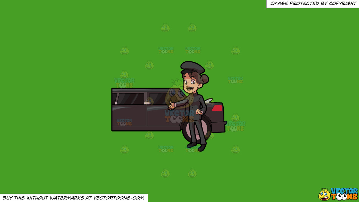 A Lady Chauffeur Welcoming A Client To The Limo On A Solid Kelly Green 47a025 Background thumbnail