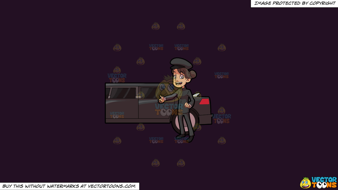 A Lady Chauffeur Welcoming A Client To The Limo On A Solid Purple Rasin 241023 Background thumbnail