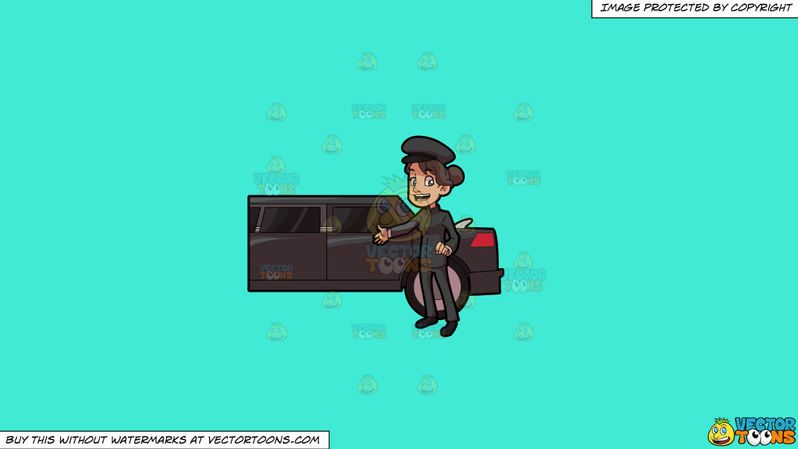 A Lady Chauffeur Welcoming A Client To The Limo On A Solid Turquiose 41ead4 Background thumbnail