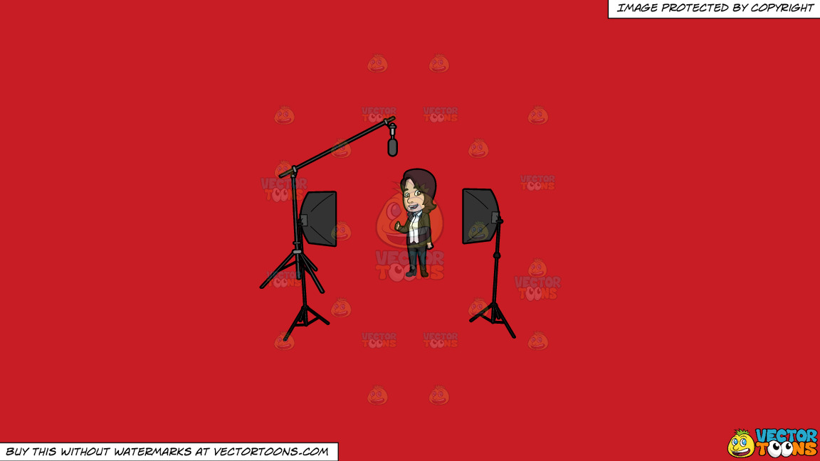 A Lady Host Filming An Episode In The Studio On A Solid Fire Engine Red C81d25 Background thumbnail