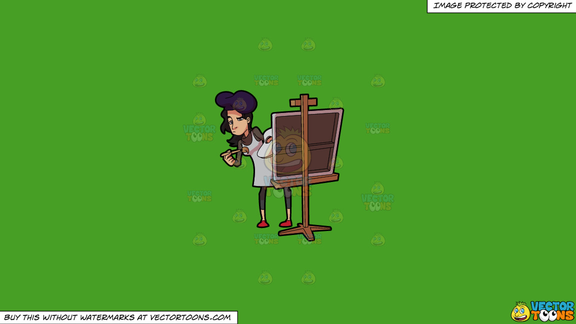 A Lady Painter Studying Her Subject Intently On A Solid Kelly Green 47a025 Background thumbnail