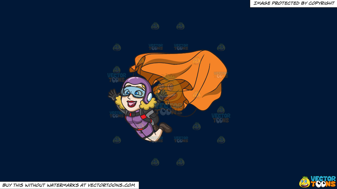 A Lady Skydiver Activating Her Parachute On A Solid Dark Blue 011936 Background thumbnail