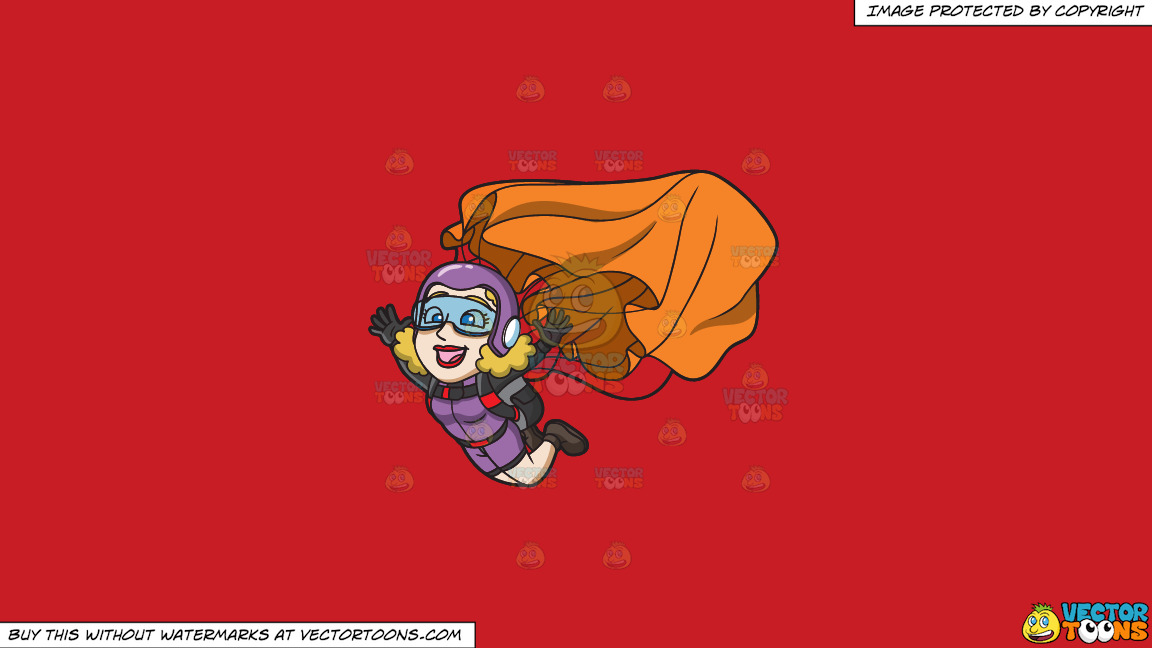 A Lady Skydiver Activating Her Parachute On A Solid Fire Engine Red C81d25 Background thumbnail