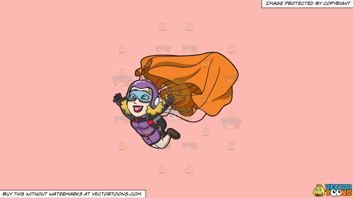 A Lady Skydiver Activating Her Parachute On A Solid Melon Fcb9b2 Background thumbnail