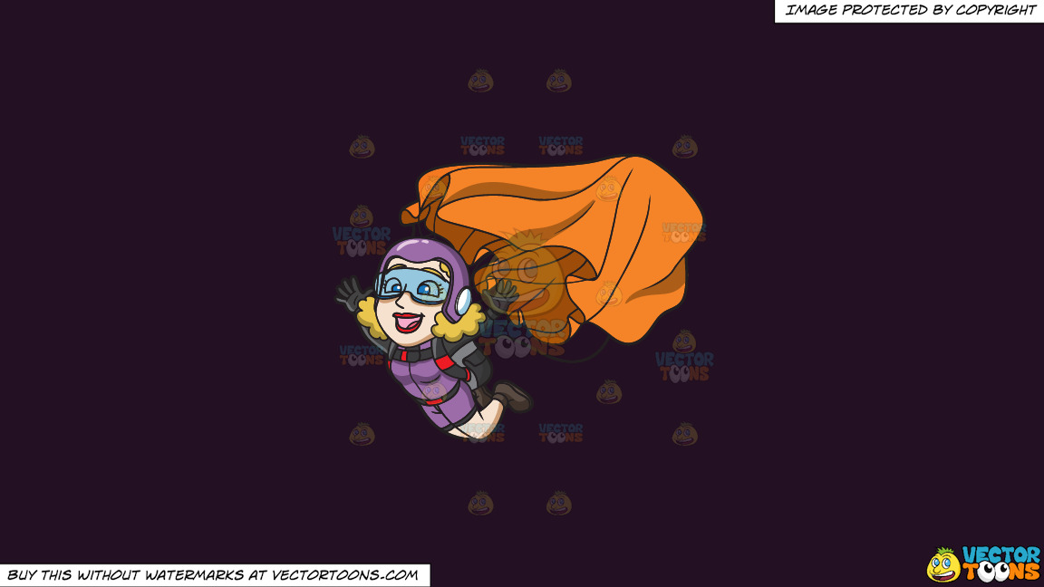 A Lady Skydiver Activating Her Parachute On A Solid Purple Rasin 241023 Background thumbnail