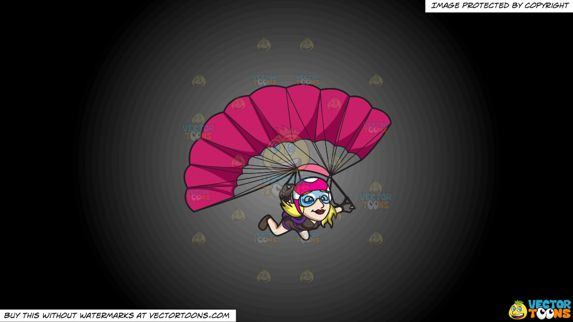 A Lady Skydiver Controlling Her Parachute On A Grey And Black Gradient Background thumbnail