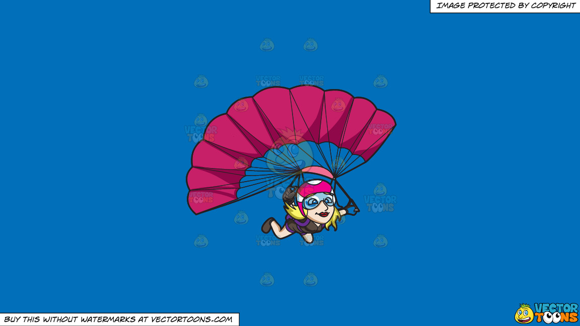 A Lady Skydiver Controlling Her Parachute On A Solid Spanish Blue 016fb9 Background thumbnail