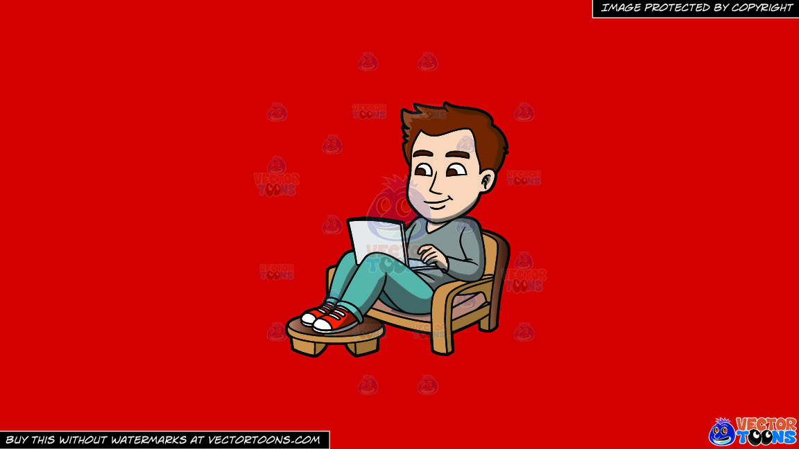 A Laid Back Guy Working On His Laptop On A Solid Fire Engine Red C81d25 Background thumbnail