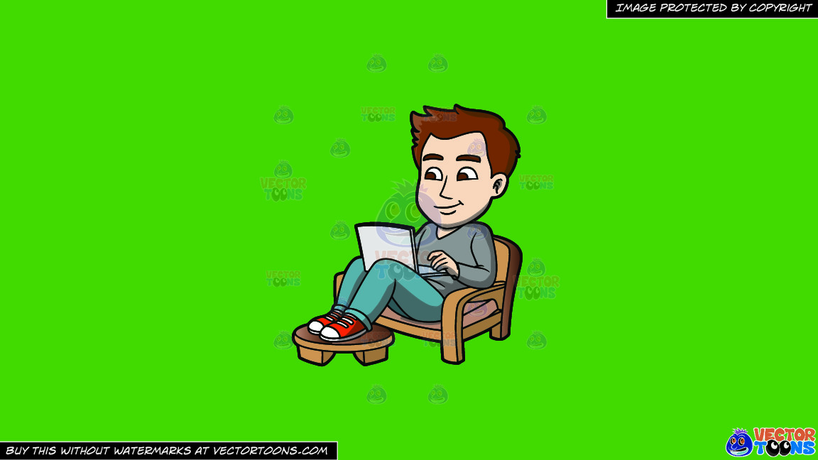 A Laid Back Guy Working On His Laptop On A Solid Kelly Green 47a025 Background thumbnail