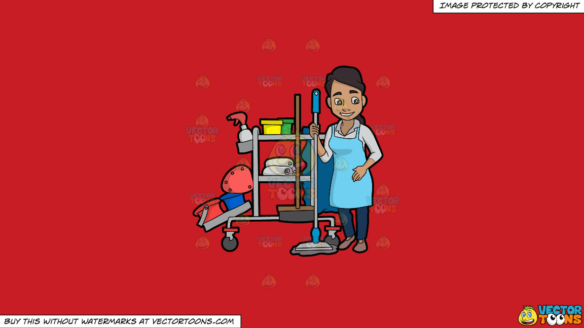 A Latina Janitor Holding A Mop On A Solid Fire Engine Red C81d25 Background thumbnail