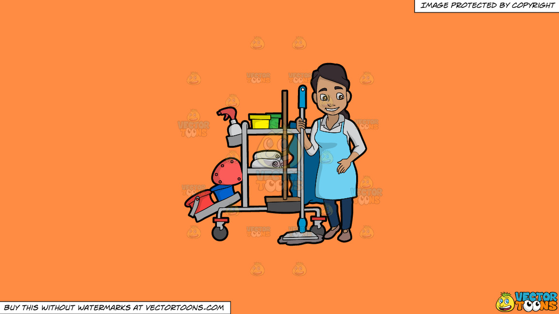 A Latina Janitor Holding A Mop On A Solid Mango Orange Ff8c42 Background thumbnail
