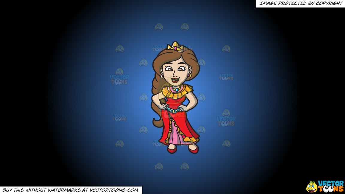 A Latina Princess On A Blue And Black Gradient Background thumbnail