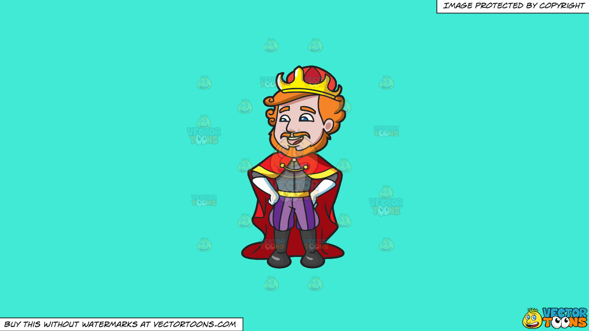 A Laughing King On A Solid Turquiose 41ead4 Background thumbnail