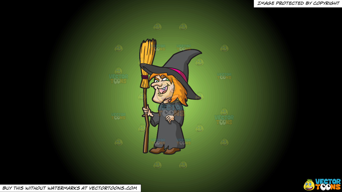 A Laughing Witch On A Green And Black Gradient Background thumbnail