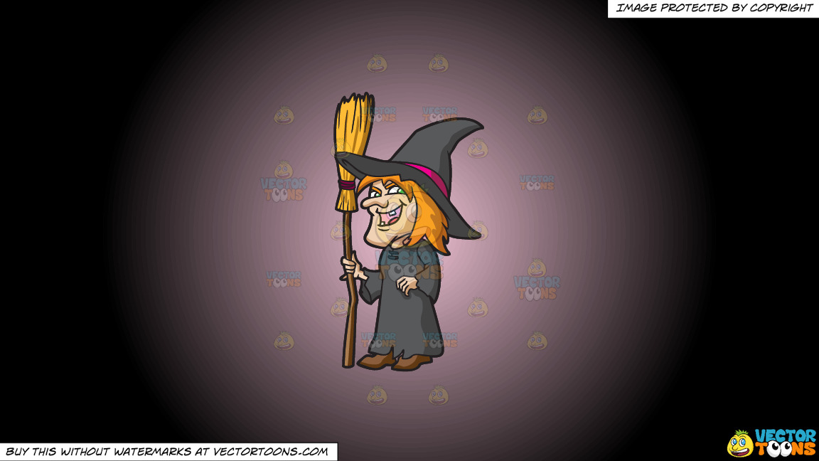 A Laughing Witch On A Pink And Black Gradient Background thumbnail