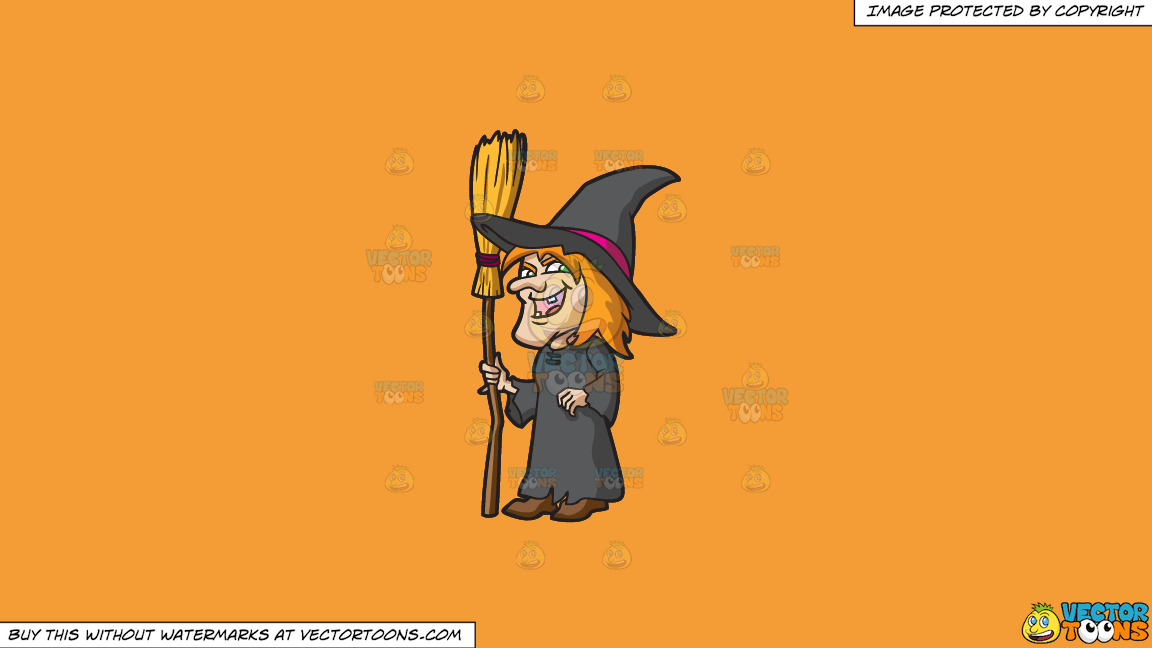 A Laughing Witch On A Solid Deep Saffron Gold F49d37 Background thumbnail