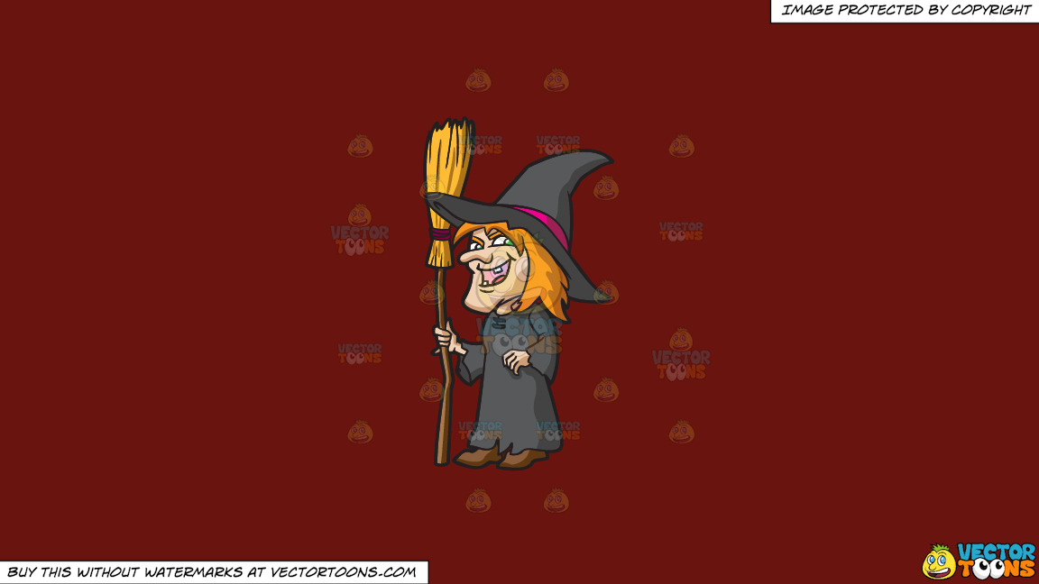 A Laughing Witch On A Solid Maroon 69140e Background thumbnail